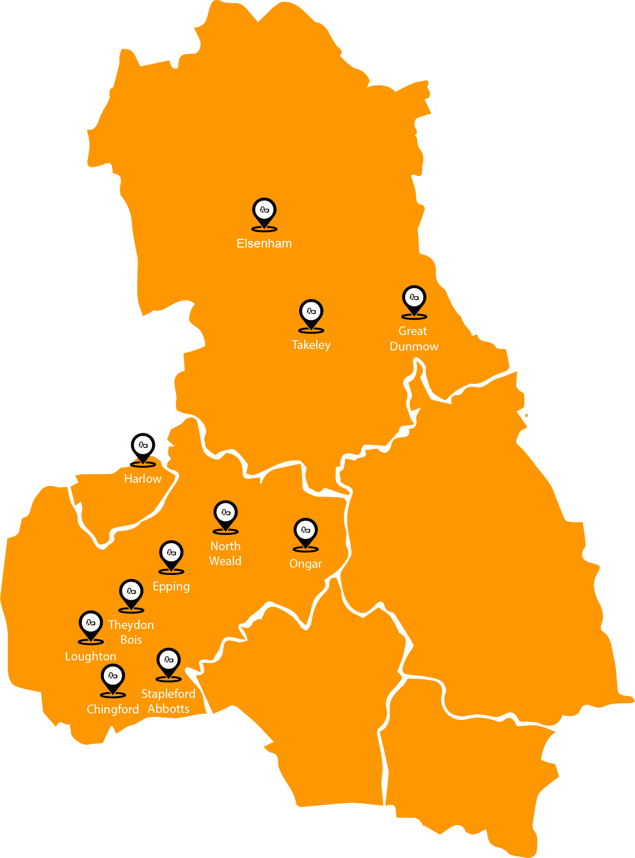 Areas covered in Essex